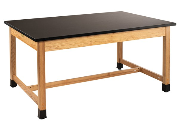 NPS Ash Black Trespa Top Science Lab Table - 42x72x30 NPS-SLT1-4272T