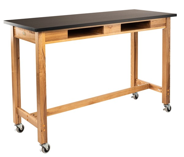 NPS Ash Black Rest Top Lab Table with Book Compartments - 30x72x36 NPS-SLT2-3072CBC