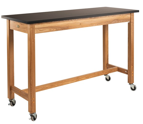 NPS Ash Black Resistant Top Lab Table with Casters - 24x60x36 NPS-SLT2-2460CC