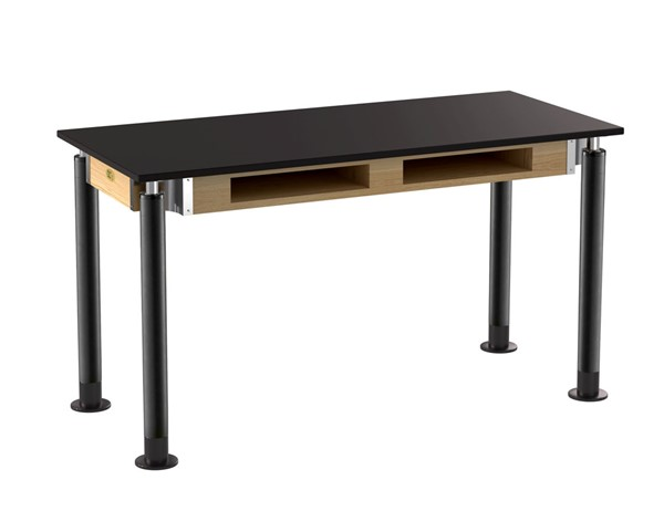 NPS Signature Black 24x54 Lab Table with Phenolic Top and Book Compartments NPS-SLT4-2454PB