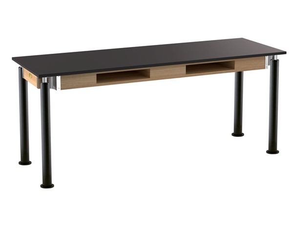 NPS Signature Black 24x72 Lab Table with Chemical Resistant Top and Casters NPS-SLT4-2472CC