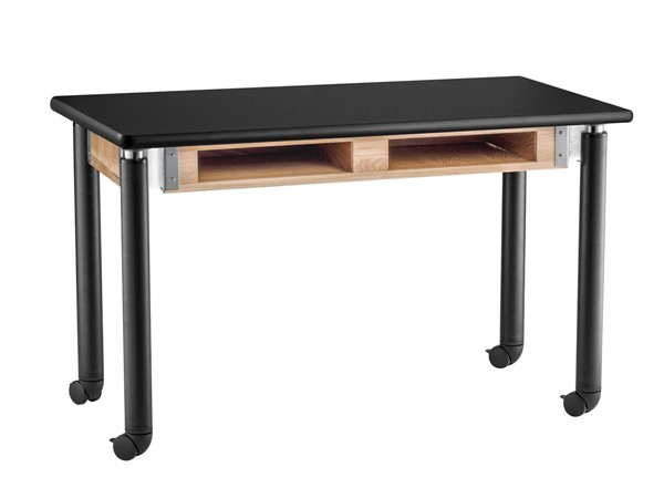 NPS Signature Black 30x60 Lab Table with HPL Top and Book Compartments Casters NPS-SLT4-3060HBC