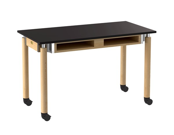 NPS Signature Oak Black Lab Table with Book Compartments and Casters NPS-SLT5-2448CBC