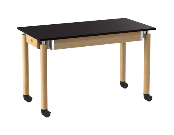 NPS Signature Oak Black Science Lab Table with Phenolic Top Casters NPS-SLT5-2448PC