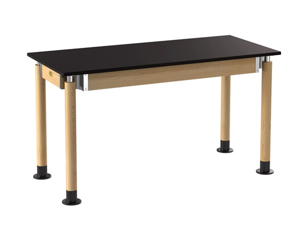 NPS Signature Oak Black 24x54 Science Lab Table with Phenolic Top NPS-SLT5-2454P