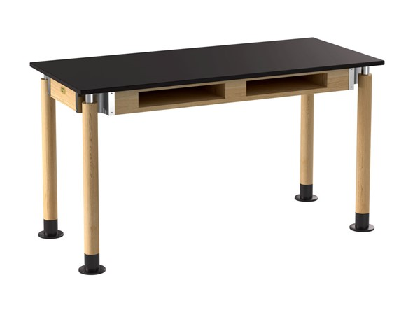 NPS Signature Oak Black 24x54 Lab Table with Resistant Top and Book Compartments NPS-SLT5-2454CB