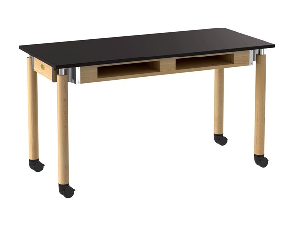 NPS Signature Oak Black 24x54 Lab Table with Book Compartments and Casters NPS-SLT5-2454CBC