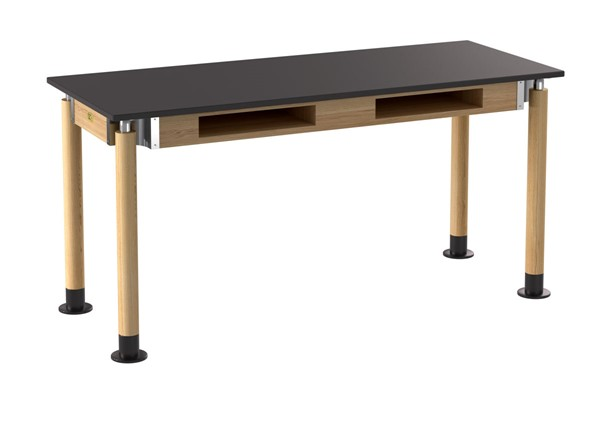NPS Signature Oak Black 24x60 Lab Table with Phenolic Top and Book Compartments NPS-SLT5-2460PB