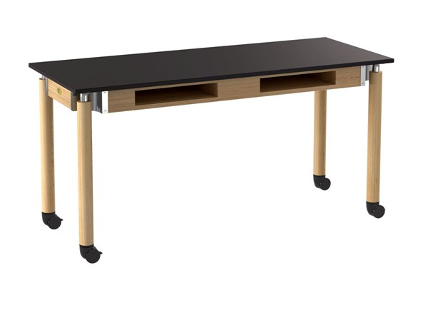 NPS Signature Oak Black 24x60 Lab Table with Phenolic Top and Book Compartments Casters NPS-SLT5-2460PBC