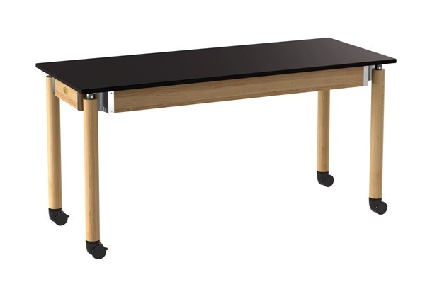 NPS Signature Oak Black 24x60 Lab Table with Chemical Resistant Top and Casters NPS-SLT5-2460CC