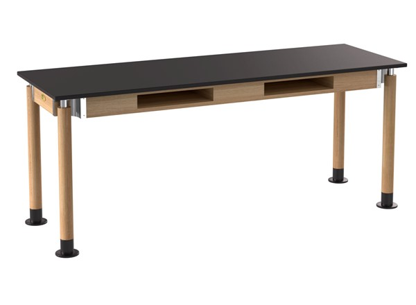 NPS Signature Oak Black 24x72 Lab Table with Phenolic Top and Book Compartments NPS-SLT5-2472PB