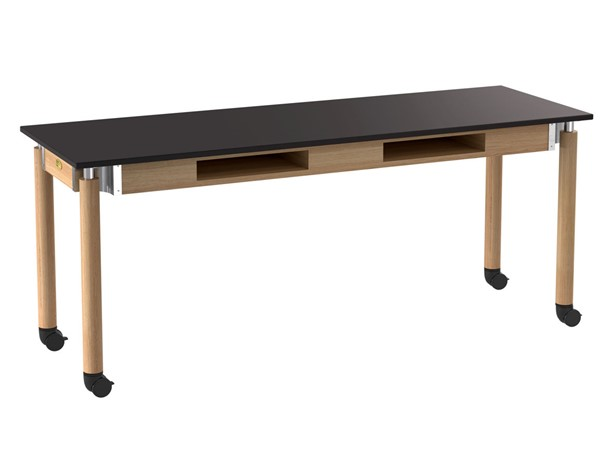 NPS Signature Oak Black 24x72 Lab Table with Resistant Top and Book Compartments Casters NPS-SLT5-2472CBC