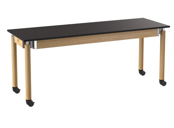 NPS Signature Oak Black 24x72 Lab Table with Chemical Resistant Top and Casters NPS-SLT5-2472CC
