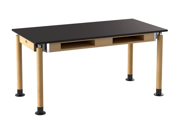 NPS Signature Oak Black 30x60 Science Lab Table with Resistant Top and Book Compartments NPS-SLT5-3060CB