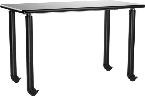 NPS Designer Black Science Lab Tables with HPL Top and Casters NPS-SLT6-2448HC-DESK-VAR