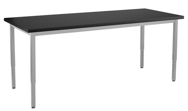 NPS SLT 8 Gray Black 24x72 Lab Table with Chemical Resistant Top NPS-SLT8-2472C