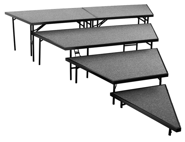 NPS Black Grey 36 Inch 4 Tier Seated Riser Stage Pie Sections NPS-SPST36C-SP3632C-02