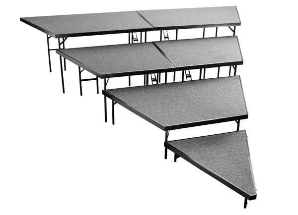 NPS 48 Inch 4 Tier Seated Riser Stage Pie Sections NPS-SPST48C-SP48-DR-RSR-VAR