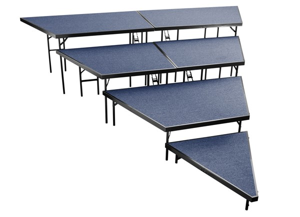 NPS Black Blue 48 Inch 4 Tier Seated Riser Stage Pie Sections NPS-SPST48C-SP4832C-04