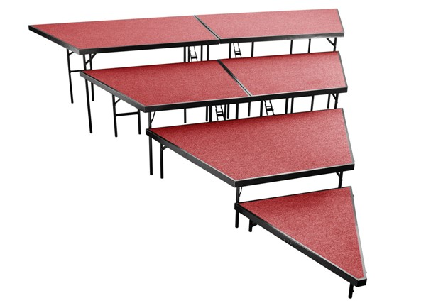 NPS Black Red 48 Inch 4 Tier Seated Riser Stage Pie Sections NPS-SPST48C-SP4832C-40