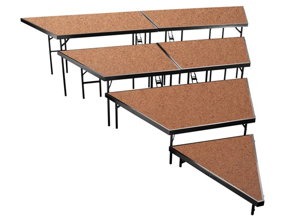 NPS Black Hardboard 48 Inch 4 Tier Seated Riser Stage Pie Sections NPS-SPST48HB-SP4832HB