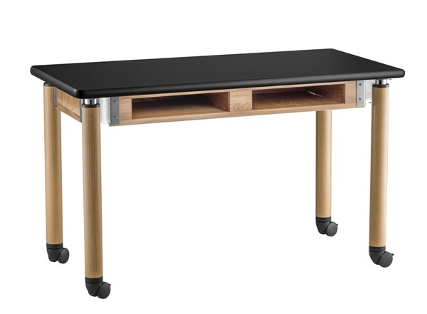NPS Signature Oak Black 30x60 Lab Table with HPL Top and Book Compartments Casters NPS-SLT5-3060HBC