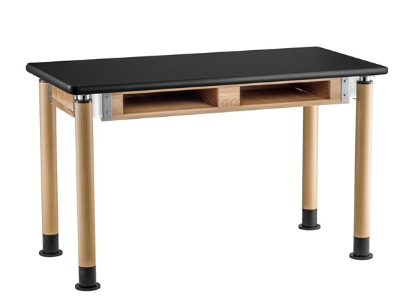 NPS Signature Oak Black 24x60 Science Lab Table with HPL Top and Book Compartments NPS-SLT5-2460HB