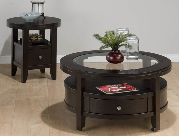 Marlon Contemporary Wenge Wood Glass 3pc Round Coffee Table Set JFN-091-set3