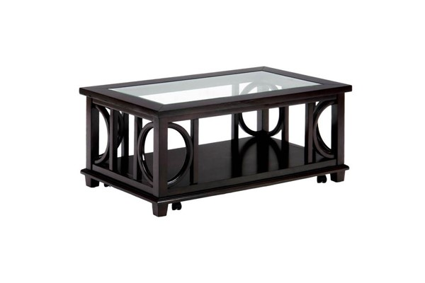 Panama Contemporary Brown Rectangle Cocktail Table w/Shelf JFN-966-1