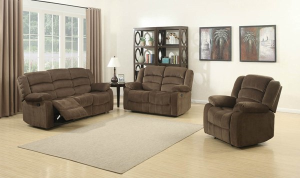 HomeRoots Bill Brown Reclining 3pc Living Room Set OCN-247973