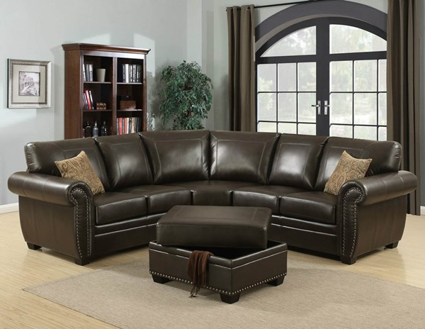 Home Roots Brown Traditional 3pc Sectional with Ottoman OCN-248012