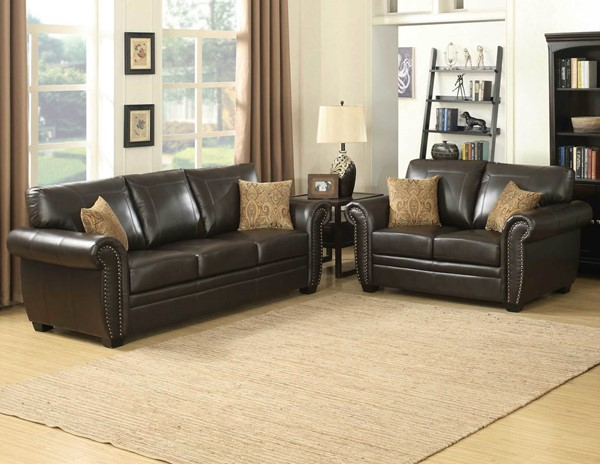 HomeRoots Brown Stationary 2pc Living Room Set OCN-248014
