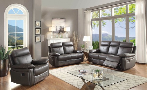 HomeRoots Brown Taupe 3pc Living Room Sets OCN-24802-LR-VAR