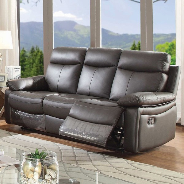 HomeRoots Brown Reclining Genuine Leather Sofa OCN-248026