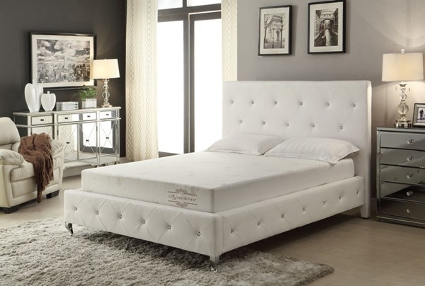 HomeRoots White 8 Inch Cal King Covered Memory Foam Mattress OCN-248083