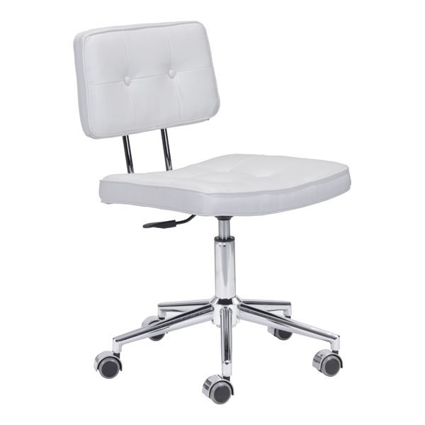 HomeRoots Retro White Faux Leather Office Chair OCN-248734