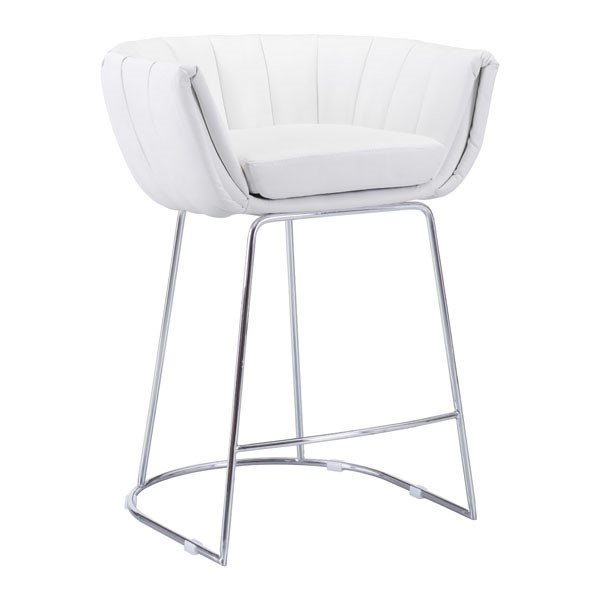 2 Home Roots Latte White Faux Leather Counter Chairs
