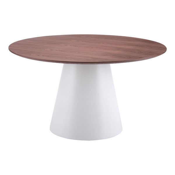 Homeroots Walnut White Slim Round Dining Table OCN-248752