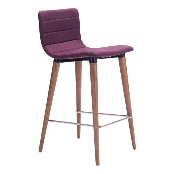 2 HomeRoots Jericho Purple Solid Wood Counter Chairs OCN-248754