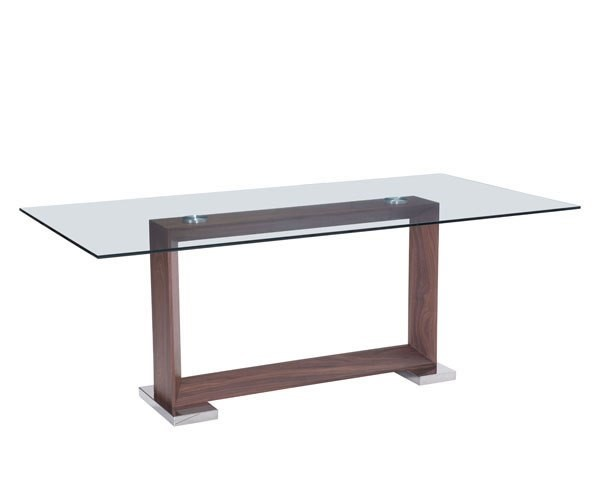 Homeroots Glass Top Walnut Wood Oasis Dining Table OCN-248769