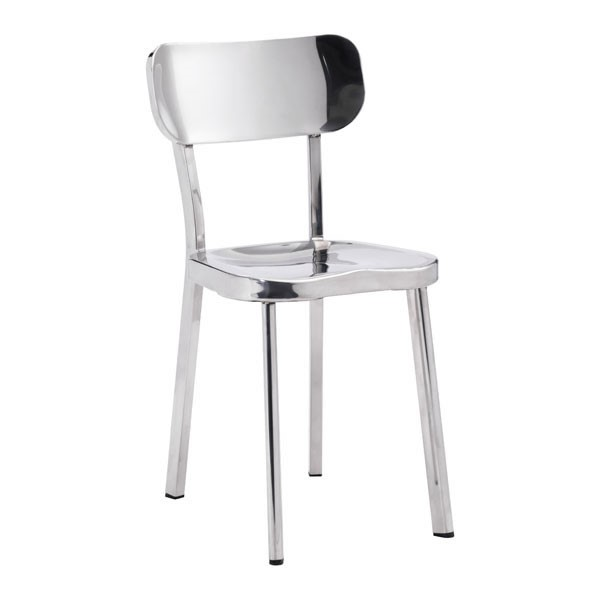 2 HomeRoots Winter Polished Stainless Steel Chairs OCN-248772