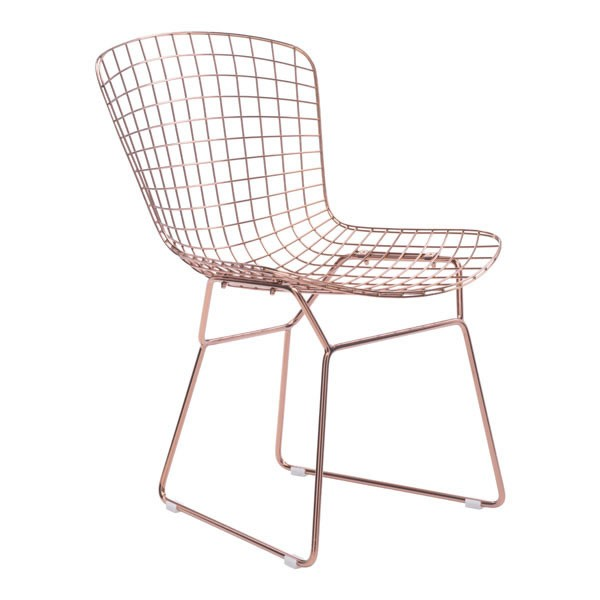 2 HomeRoots Rose Gold Wire Dining Chairs OCN-248813