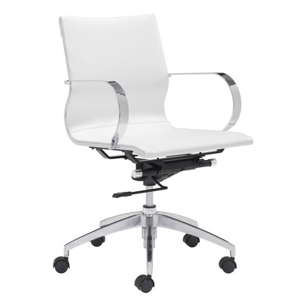 Home Roots White Faux Leather Low Back Office Chair OCN-248826