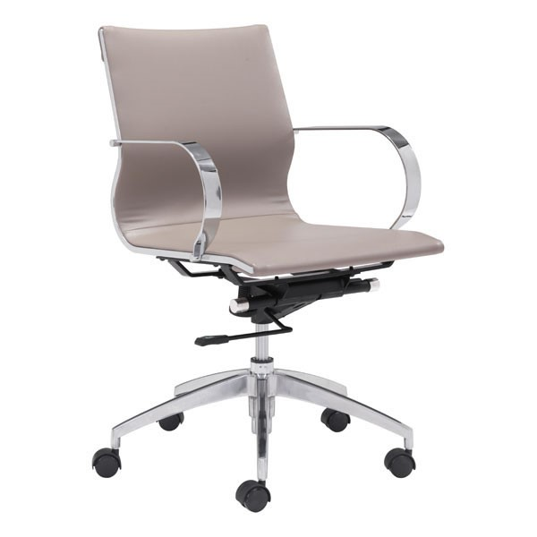 Home Roots Taupe Faux Leather Low Back Office Chair OCN-248827