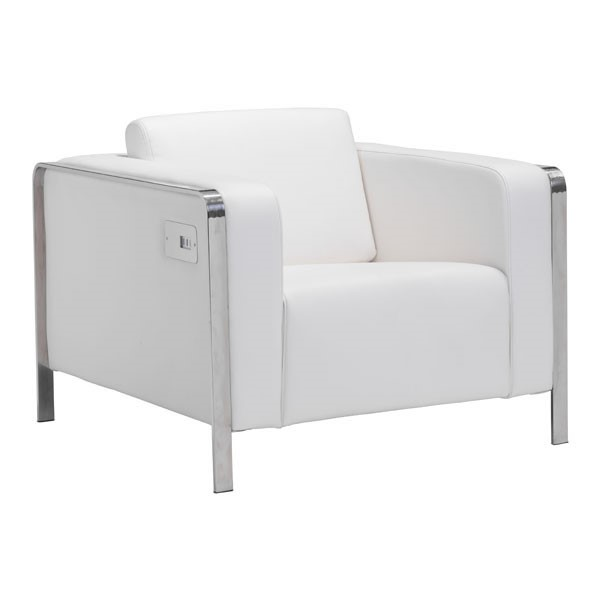 HomeRoots Thor White Faux Leather Arm Chair OCN-248832