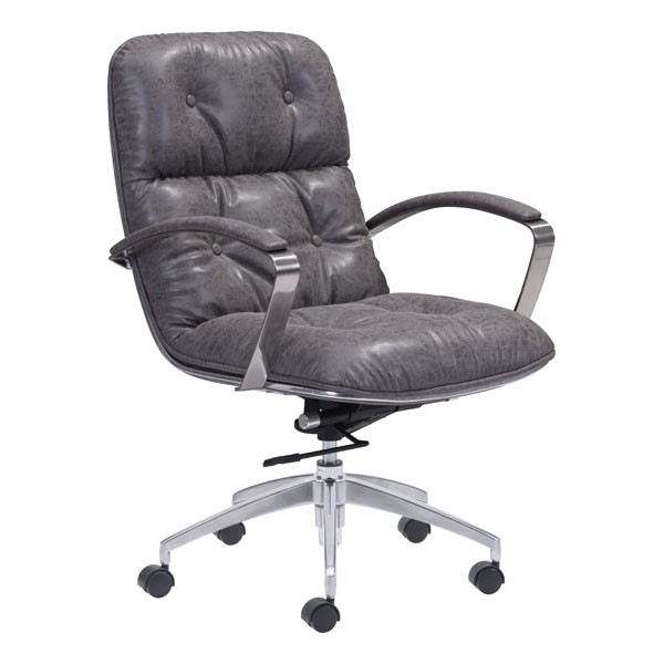 Home Roots Avenue Gray Faux Leather Office Chair OCN-248866