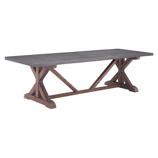 Home Roots Durham Gray Distressed Fir Dining Table OCN-248867