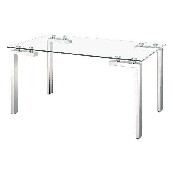 Homeroots Glass Top Stainless Steel Roca Dining Table OCN-248889