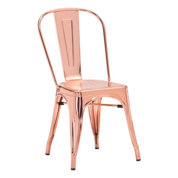 2 HomeRoots Elio Rose Gold Metal Dining Chairs OCN-248919