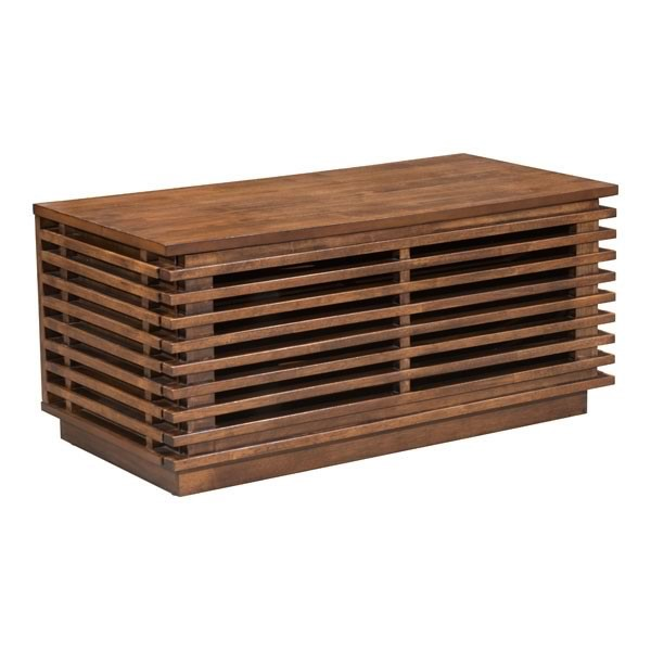 Home Roots Linea Walnut Solid Fir Wood TV Stand OCN-248955